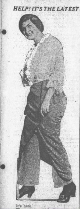 Newspaper clipping of early 1900s pantskirt