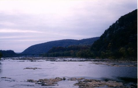 Photo of shallow river with white light