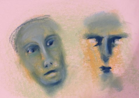 Pastel drawing of two faces one doubtful one angry