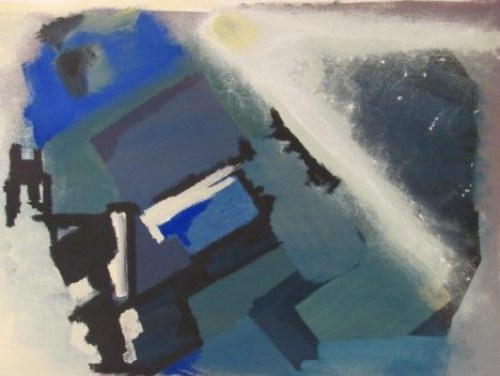 OIl painting of sonic missle breaking through clouds
