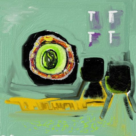 Digital painting of futuristic living room chairs facing eyeball