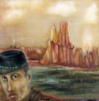 Haunt of Thieves soldier in fiery canyon landscape art for part one