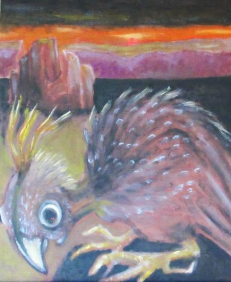 Oil painting of scavenging bird before canyon landscape