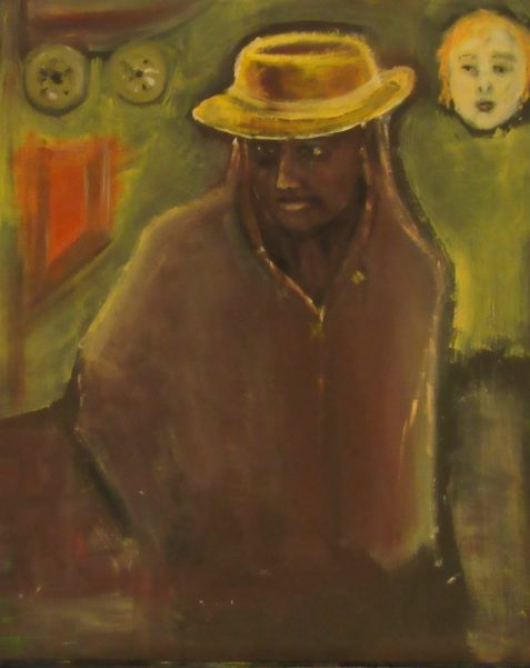 Oil painting of man in yellow hat and hoodie