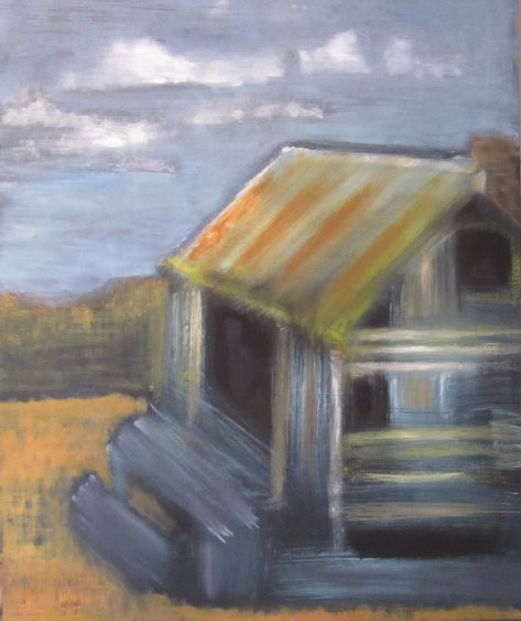 Oil painting of abandoned farmhouse