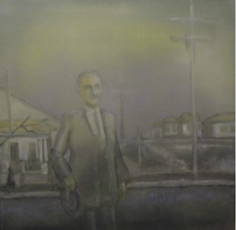 Oil painting of suited man on small town street