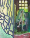 Oil painting of man in robe standing on chair