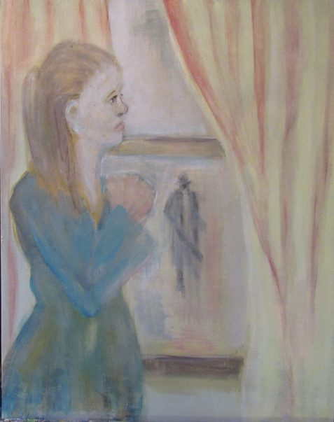 Oil painting of young woman looking out window seeing spy