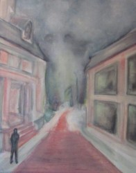 Oil painting of snowy street figure seeing face in fog
