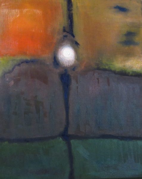 OIl painting abstrace glowing orb six segments face