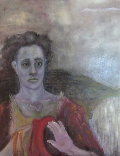 Oil painting of man in medieval clothing windblown hair standing cliffside