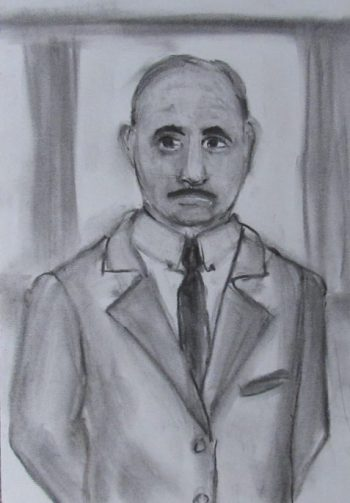Charcoal drawing of small statured man in Edwardian suit