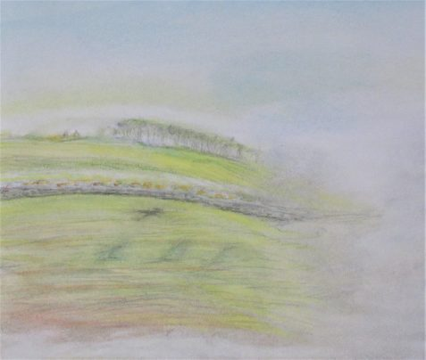 Pastel drawing of foggy landscape with stone wall and airplane shadow