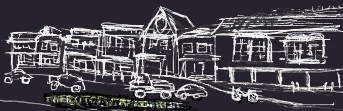Digital painting of street scene small shops cars