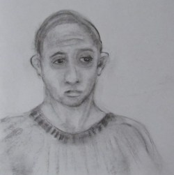 Charcoal drawing of young man in sweater feeling resigned