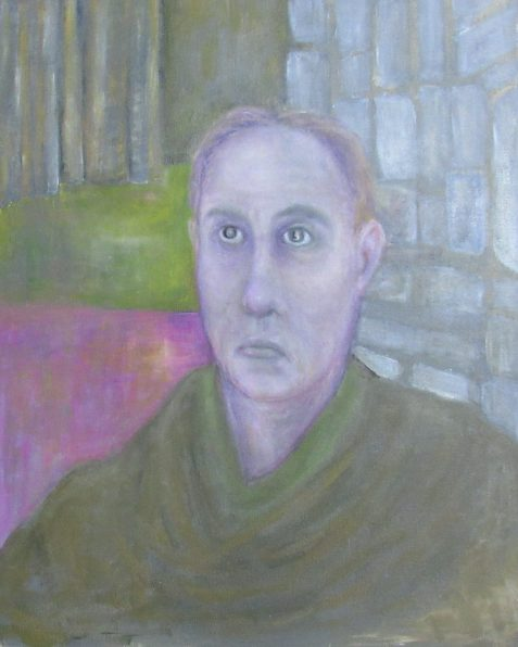 Oil painting of bitter man wearing medieval clothing