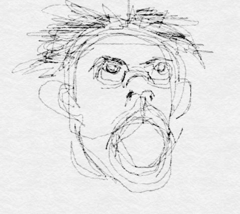 Digital drawing of screaming male face