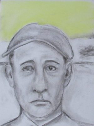 Tattersby sad faced man in cap art for poem Familiar