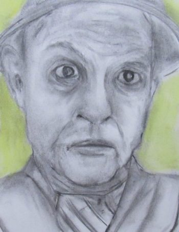 Charcoal and pastel drawing of man with menacing face