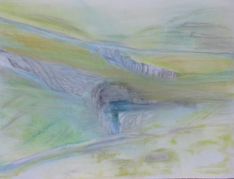 Pastel drawing of hilly landscape with dramatic rock formations