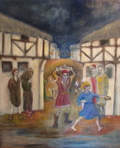 Oil painting of timbered houses dancing woman spectators wearing medieval clothing