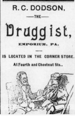 Newspaper clipping advertisement for druggist