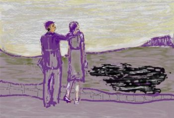 Tattersby scene of plane crash with young couple spectating art for poem The Lay of the Land