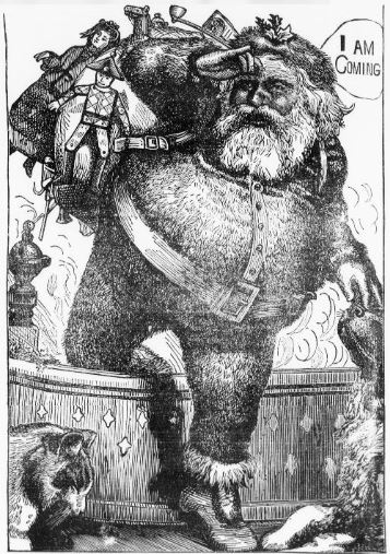 Newspaper clipping of Santa stepping over wall