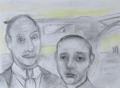 Charcoal and pastel drawing of brothers with no resemblance airplane in background