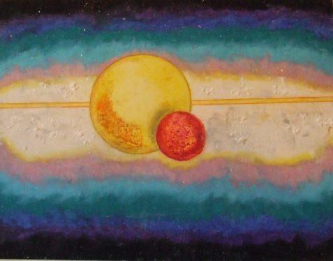 Pastel drawing of orbs nebula-like setting
