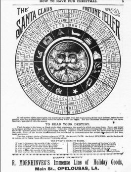 Newspaper clipping of Santa and astrology wheel