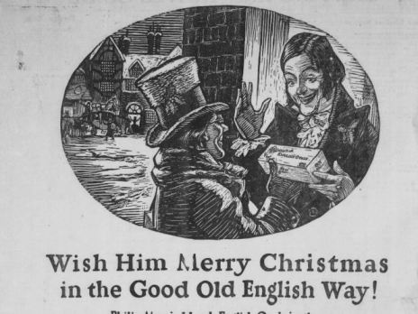 Newspaper clipping of man receiving gift of cigarettes