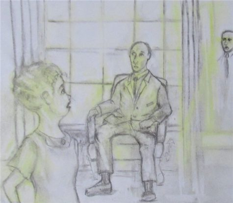 Charcoal and pastel drawing of woman staring past her lover at her boyfriend