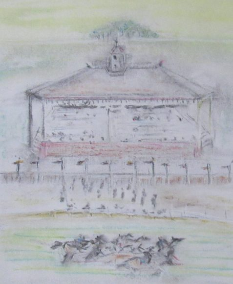 Charcoal and pastel drawing of pile-up at horserace before pavillion