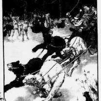 Newspaper advertisement depicts bears leading Santa's sleigh