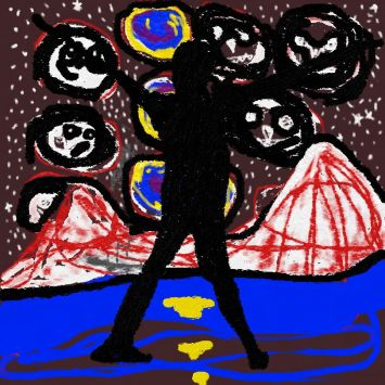 digital art with black silhouetted figure outer-space sky stars with faces art for poem Forbidden Fruit