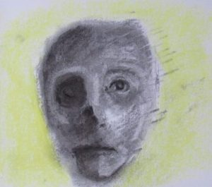 Charcoal and pastel drawing of half-skull half-flesh head