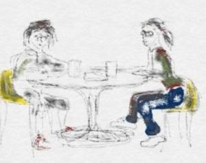 digital drawing two scriptwriters at cafe table art for poem The Second Idea