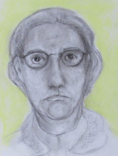 Charcoal and pastel drawing of intelligent woman wearing spectacles