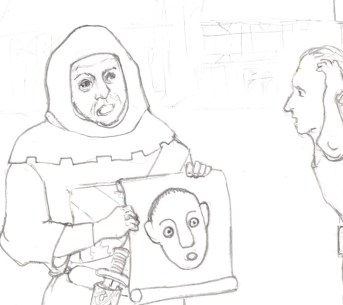 Cartoon of medieval sheriff's deputy with drawing of suspect