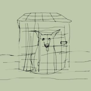 digital drawing caged dog in flooding room art for poem While We Talk