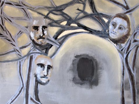 Oil painting tunnel faces of two men and a woman