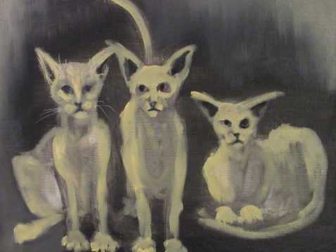 Oil painting three alley cats