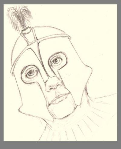 Pencil drawing of Olympian in helmet