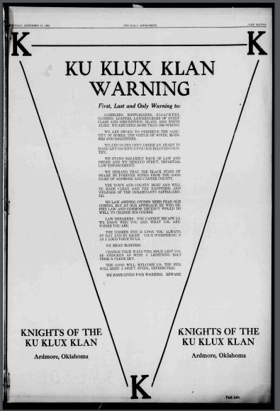 Newspaper clipping of KKK advertisement