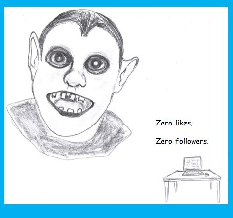 Cartoon of Lonely Ghoul who can't get social media followers