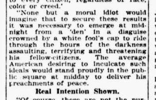 Newspaper clipping mocking Klan