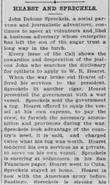 Newspaper clipping describes feud between Hearst and young Spreckels