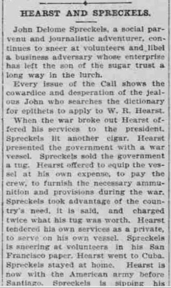 Newspaper clipping describes feud between Heart and young Spreckels
