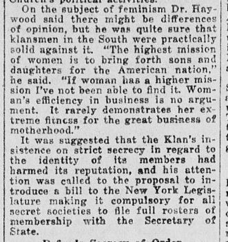 Newspaper clipping of Klan misogyny